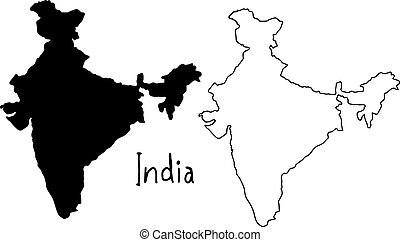 outline and silhouette map of India - vector illustration hand drawn with black lines, isolated on white background