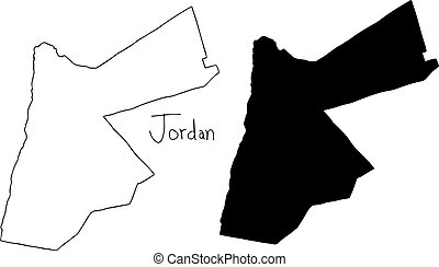 outline and silhouette map of Jordan - vector illustration...
