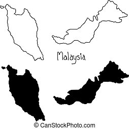outline and silhouette map of Malaysia - vector illustration...