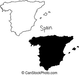 outline and silhouette map of Spain - vector illustration...