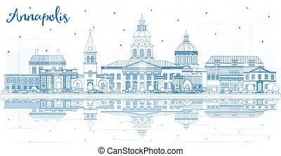 Outline Annapolis Maryland City Skyline with Blue Buildings and Reflections. Vector Illustration. Business Travel and Tourism Concept with Historic Architecture. Annapolis USA Cityscape with Landmarks.
