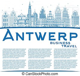 Outline Antwerp Skyline with Blue Buildings and Copy Space.