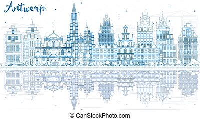 Outline Antwerp Skyline with Blue Buildings and Reflections.