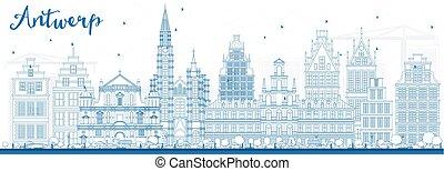 Outline Antwerp Skyline with Blue Buildings.