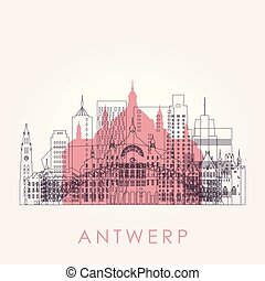 Outline Antwerp skyline with landmarks.