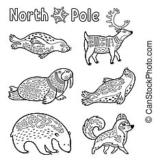 Outline Arctic animals set for coloring page