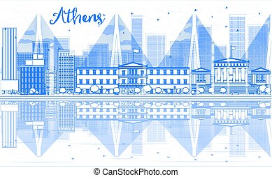 Outline Athens skyline with blue buildings and reflections.