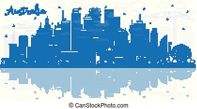 Outline Australia City Skyline with Blue Buildings and Reflections. Vector Illustration. Tourism Concept with Historic Architecture. Australia Cityscape with Landmarks. Sydney. Melbourne. Canberra.