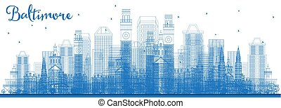 Outline Baltimore Maryland City Skyline with Blue Buildings.