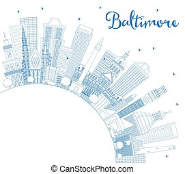 Outline Baltimore Maryland USA City Skyline with Blue Buildings and Copy Space.