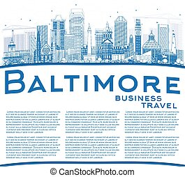Outline Baltimore Skyline with Blue Buildings and Copy Space.