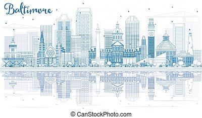 Outline Baltimore Skyline with Blue Buildings and Reflections.