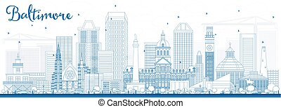 Outline Baltimore Skyline with Blue Buildings.