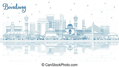 Outline Bandung Indonesia City Skyline with Blue Buildings and Reflections. Vector Illustration. Business Travel and Tourism Concept with Historic Architecture. Bandung Cityscape with Landmarks.