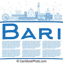 Outline Bari Italy City Skyline with Blue Buildings and Copy...