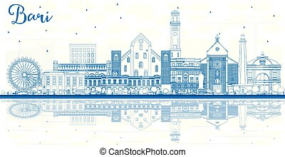 Outline Bari Italy City Skyline with Blue Buildings and...