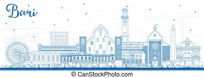 Outline Bari Italy City Skyline with Blue Buildings. Vector...