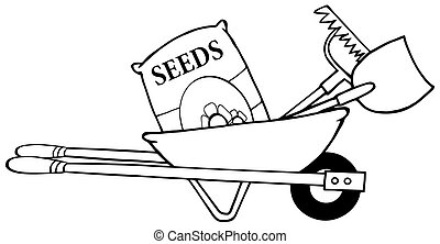 Outline Barrow With Seeds, A Rake And Shovel