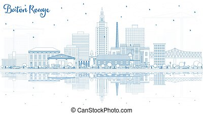 Outline Baton Rouge Louisiana City Skyline with Blue ...