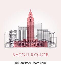 Outline Baton Rouge skyline with landmarks. Vector ...