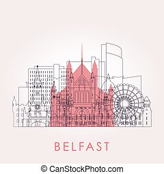 Outline Belfast skyline with landmarks.
