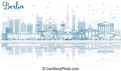 Outline Berlin Skyline with Blue Buildings and Reflections.