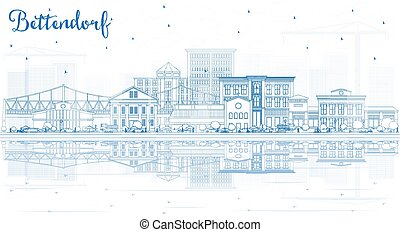 Outline Bettendorf Iowa Skyline with Blue Buildings and ...