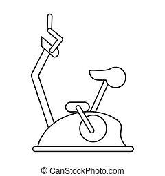 outline bike static machine fitness gym