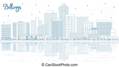 Outline Billings Montana City Skyline with Blue Buildings and Reflections. Vector Illustration. Travel and Tourism Concept with Modern Architecture. Billings USA Cityscape with Landmarks.