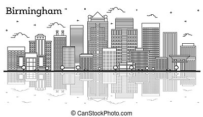Outline Birmingham Alabama City Skyline with Modern Buildings and Reflections Isolated on White. Vector Illustration. Birmingham USA Cityscape with Landmarks.