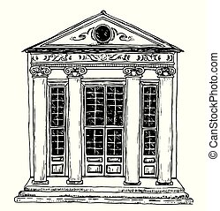 Outline black and white sketch of a historical building with columns, hand-drawn draft