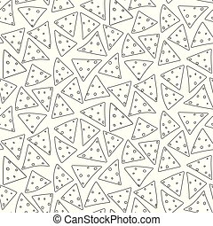 Outline black cartoon nachos pattern