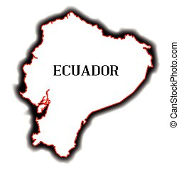 Ecuador - Outline blank map of the South American country of...