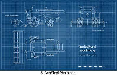 Outline blueprint of combine harvester. Side, front and top view of agriculture machinery. Farming vehicle. Industrial drawing. Indurtry document. Vector illustration