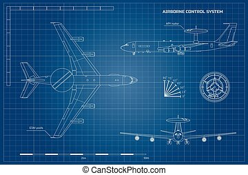 Outline blueprint of military aircraft. Top, front and side...