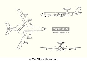 Outline blueprint of military aircraft. Top, front and side jet view. Army airplane with airborne warning and control system. Industrial isolated drawing. Vector illustration