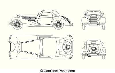Outline blueprint of retro car on white background. Vintage cabriolet. Front, side, top and back view. Industrial isolated drawing. Vector illustration