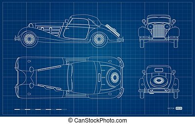 Outline blueprint of retro car. Vintage cabriolet. Front, side, top and back view. Industrial isolated drawing