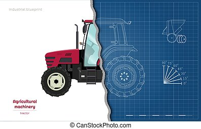 Outline blueprint of tractor. Side view of agriculture machinery. Farming vehicle. Industry 3d drawing. Vector illustration