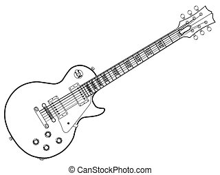 The definitive rock and roll guitar in outline isolated over a white background.