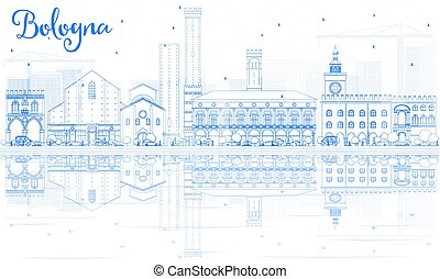 Outline Bologna Skyline with Blue Landmarks and Reflections. Vector Illustration. Business Travel and Tourism Concept with Historic Buildings. Image for Presentation Banner Placard and Web Site.