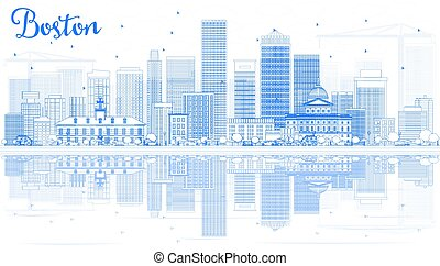 Outline Boston Skyline with Blue Buildings and Reflections....