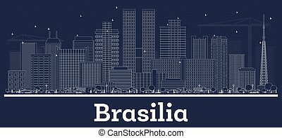Outline Brasilia Brazil City Skyline with White Buildings.