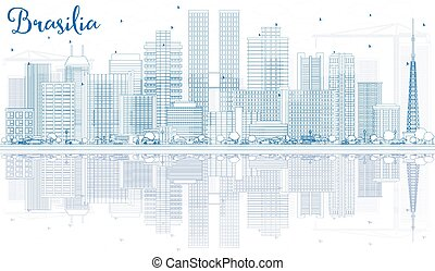 Outline Brasilia Skyline with Blue Buildings.