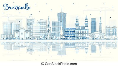 Outline Brazzaville Republic of Congo City Skyline with Blue Buildings and Reflections. Vector Illustration. Tourism Concept with Historic Architecture. Brazzaville Cityscape with Landmarks.
