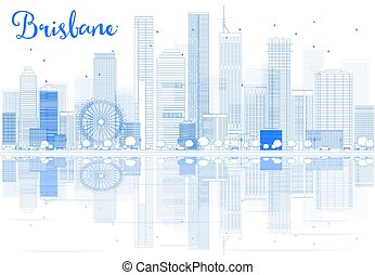 Outline Brisbane skyline with blue buildings and reflections. Vector illustration. Business travel and tourism concept with place for text. Image for presentation, banner, placard and web site.