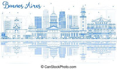 Outline Buenos Aires Skyline with Blue Landmarks and ...