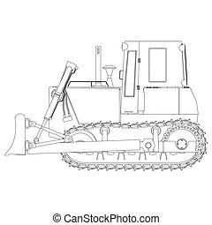 Outline bulldozer construction icon vector excavator tractor equipment road shovel illustration