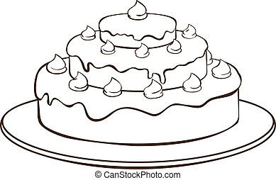 Outline cake - Outline illustration - cake on plate