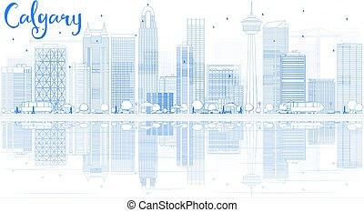 Outline Calgary Skyline with Blue Buildings and Reflections.